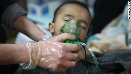A child is given treatment for what the Syrian American Medical Society described as exposure to chemical compounds.