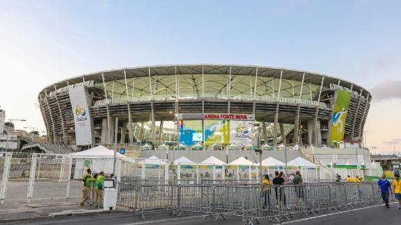 Fans arrive at Fonte Nova Arena for Brazil vs Denmark game during the 2016 Summer Olympics.