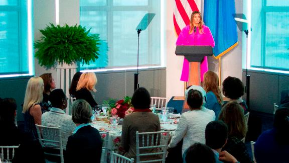"""Trump addresses other spouses of world leaders at a <a href=""""https://www.cnn.com/videos/politics/2017/09/20/melania-trump-entire-united-nations-children-speech-sot.cnn"""" target=""""_blank"""">United Nations luncheon</a> in September."""