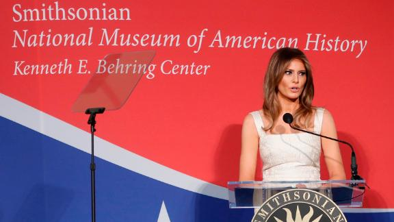 Trump speaks at an October ceremony after donating her inaugural gown to the National Museum of American History. It will be part of the museum