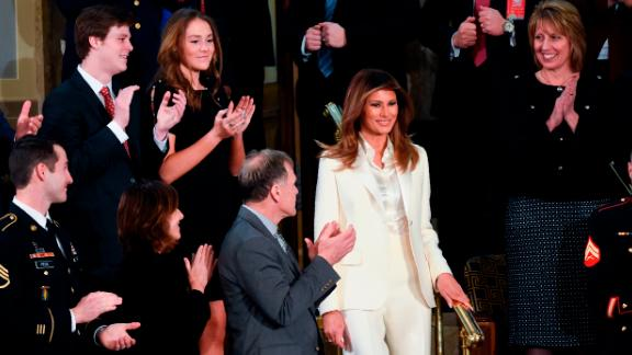 """<a href=""""https://www.cnn.com/2018/01/30/politics/melania-trump-state-of-the-union-2018/index.html"""" target=""""_blank"""">Trump arrives</a> for her husband's State of the Union address in January."""