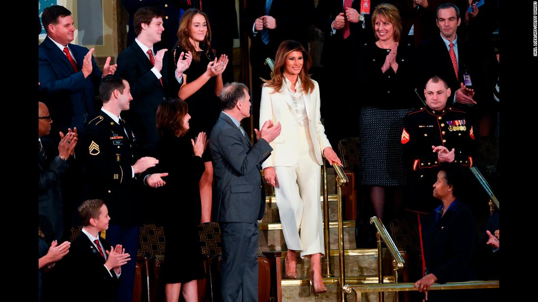 "<a href=""https://www.cnn.com/2018/01/30/politics/melania-trump-state-of-the-union-2018/index.html"" target=""_blank"">Trump arrives</a> for her husband's State of the Union address in January."