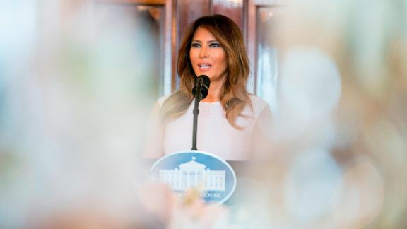 Melania Trump speaks to the spouses of US governors at a White House luncheon in February. Among the topics she touched on were cyberbullying and the opioid epidemic. She also acknowledged the students around the country who have been fighting the gun lobby since the tragic school shooting in Parkland, Florida.