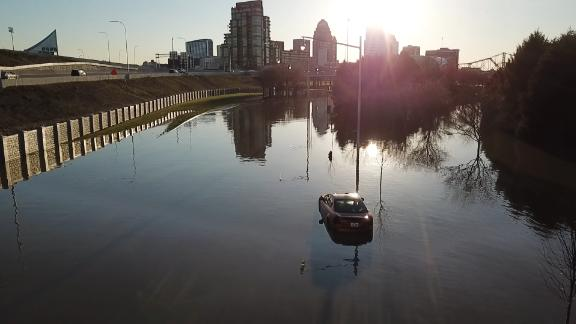 This drone photo shows flooding near downtown Louisville.