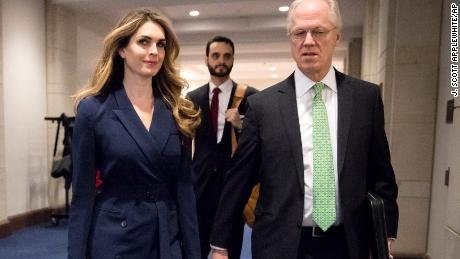 White House Communications Director Hope Hicks, center, one of President Trump's closest aides and advisers, arrives to meet behind closed doors with the House Intelligence Committee, at the Capitol in Washington, Tuesday, Feb. 27, 2018.  (AP Photo/J. Scott Applewhite)