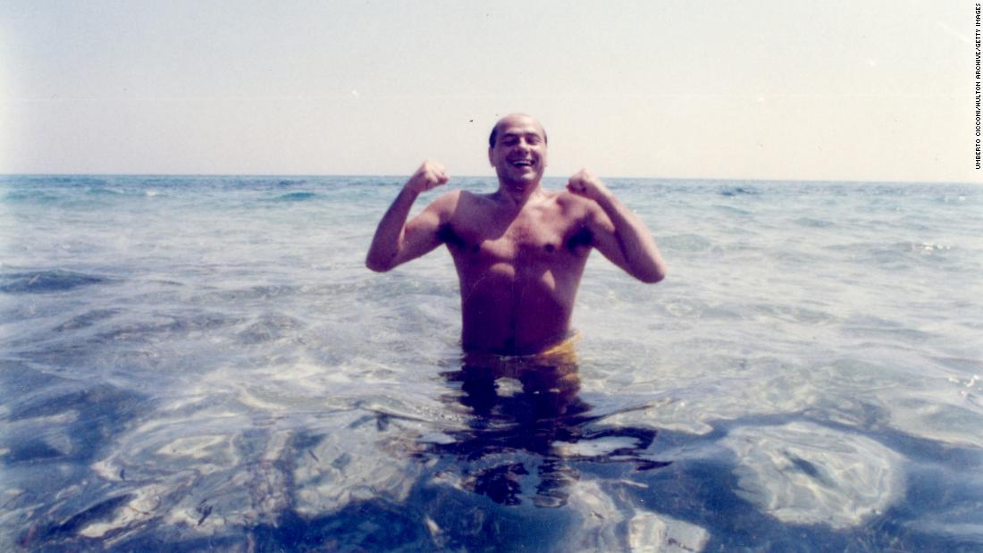 Berlusconi swims at a Tunisian beach in 1984. In 1980, he launched Canale 5, Italy's first national commercial television network. Italia 1 followed in 1982, and then there was Rete 4 in 1984.