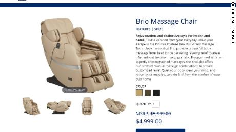 A massage chair offered for sale online.