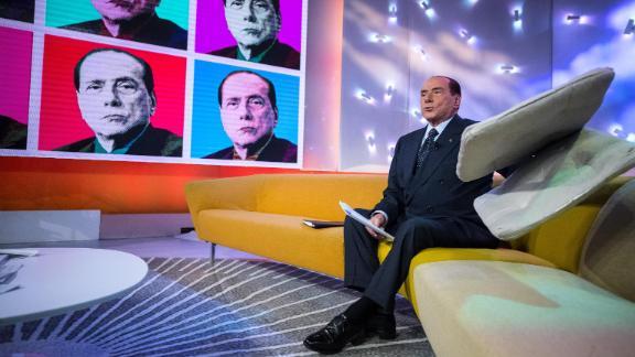 Italian former Prime Minister and Forza Italia (FI) leader Silvio Berlusconi attends the La7 TV program