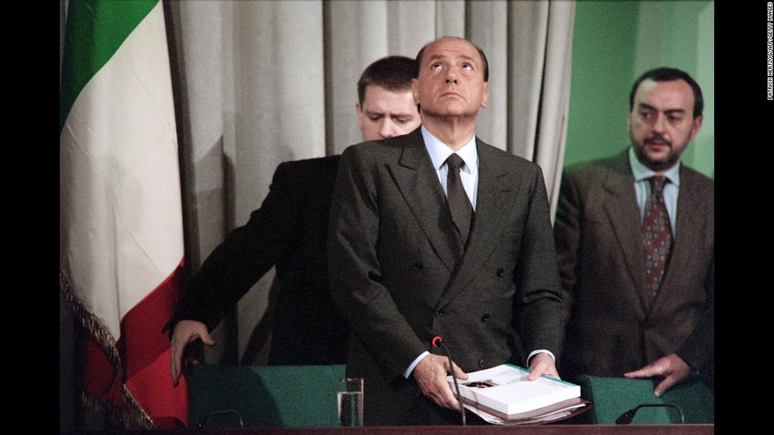 Berlusconi speaks to the press on December 23, 1994, a day after he submitted his resignation to President Oscar Scalfaro. He had lost the support of other political parties.