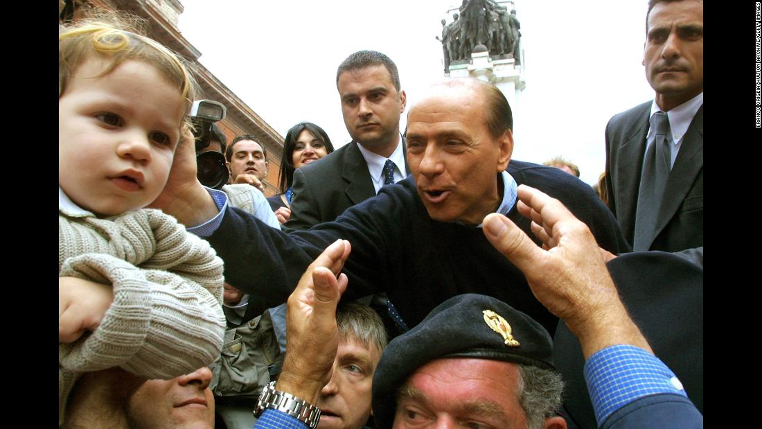 Berlusconi ran for prime minister in 1996, but lost to Romano Prodi. He ran again in 2001 and was elected. Here, he campaigns in Tatanto, Italy, on May 5, 2001.