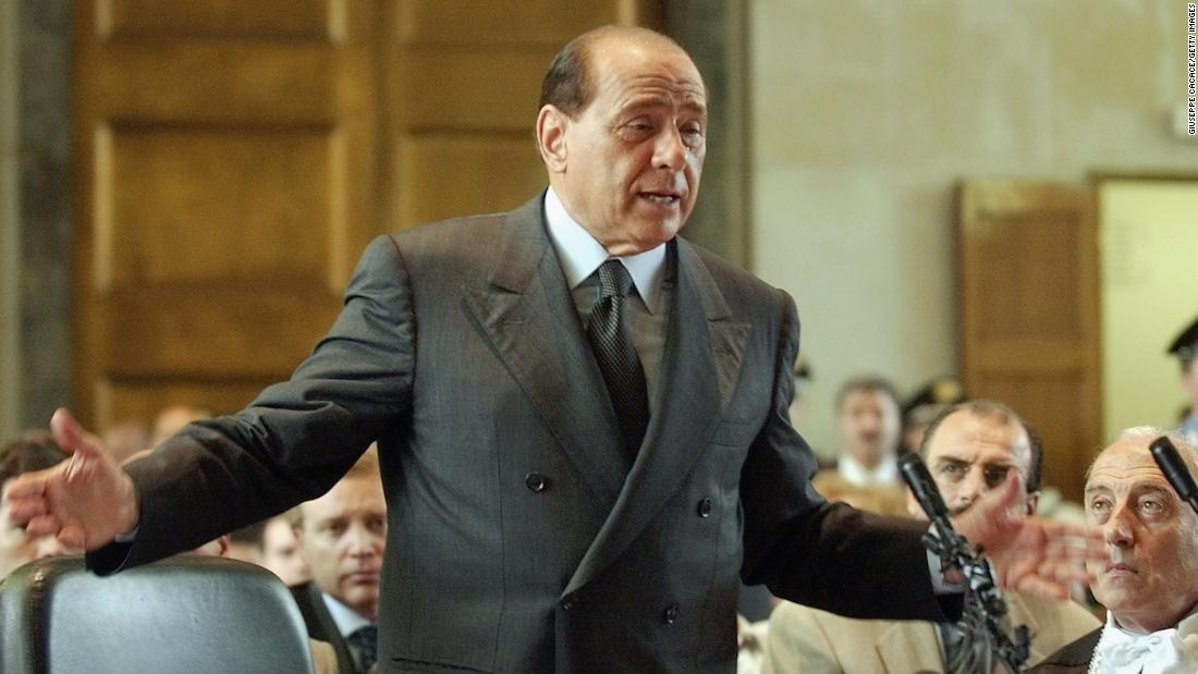 Berlusconi addresses a court in Milan, Italy, in June 2003. He was defending himself against corruption charges linked to his media company.