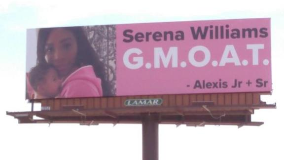 One of four billboards that Serena Williams' husband put up in Palm Springs.