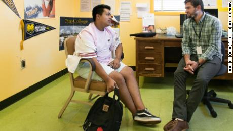 Gerardo Alejandrez with counselor Erich Roberts at Oakland Technical High School.