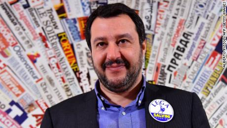 The Northern League's Matteo Salvini smiles during a press conference in Rome last week.