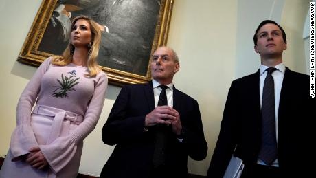 White House senior advisor Ivanka Trump, White House Chief of Staff John Kelly and White House senior advisor Jared Kushner look on as U.S. President Donald Trump delivers remarks to reporters before a cabinet meeting at the White House in Washington, U.S., January 10, 2018.  REUTERS/Jonathan Ernst (Newscom TagID: rtrlnine457298.jpg) [Photo via Newscom]
