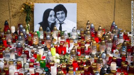 Hundreds of candles were placed in front of a portrait of  Kuciak and Kušnírová in the center of Bratislava on February 27.