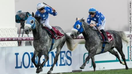 DOHA, QATAR - FEBRUARY 24:  Gazwan under Cristian Demuro wins the 2400m Group 1 H.H.The Emir's Sword race for Purebred Arabians at Al Rayyan Racecourse on February 24, 2018 in Doha, Qatar.  (Photo by Neville Hopwood/Getty Images)