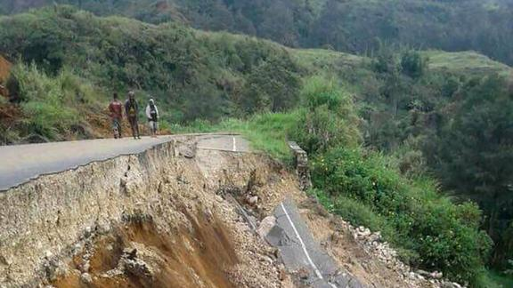 Damage to a road near Mendi in Papua New Guinea's highlands region on February 27.