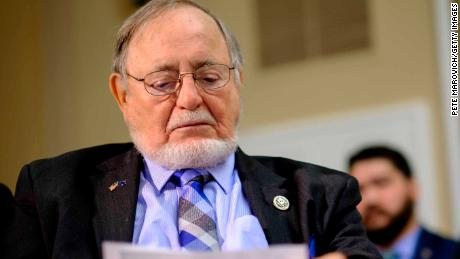 WASHINGTON, DC - JULY 12: Rep. Don Young (R-AK) reads over an amendment he plans to offer to the National Defense Authorization Act for approval so they can be debated on the floor of the House on July 12, 2017 in Washington, DC. (Photo by Pete Marovich/Getty Images)