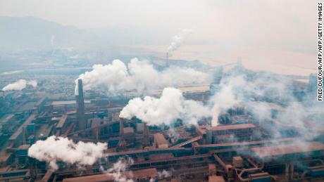 Pollution is emitted from steel factories in Hancheng, Shaanxi, China, in February, 2017.