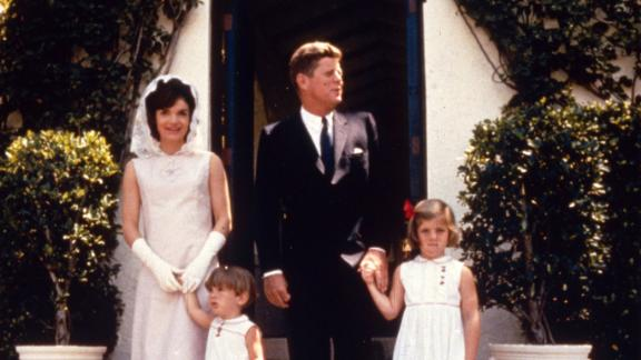 14th April 1963:  John Fitzgerald Kennedy (1917 - 1963), the 35th President of the United States, with his wife Jacqueline (1929 - 1994) and their children Caroline and John Jnr (1960 - 1999) on Easter Sunday at Palm Beach, Miami, Florida.  (Photo by MPI/Getty Images)