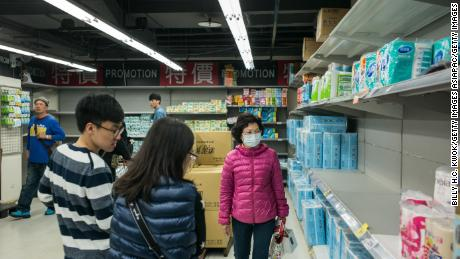 TAIPEI, TAIWAN - FEBRUARY 28: People buy toilet paper in the supermarket on February 28, 2018 in Taipei, Taiwan. Shoppers across Taiwan's major cities rushed to their supermarkets to purchase on as many toilet paper rolls as reports of an imminent price increases have sent consumers rushing to stock up on the household staple. (Photo by Billy H.C. Kwok/Getty Images)