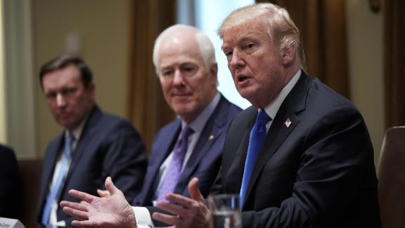 US President Donald Trump speaks during a meeting with bipartisan members of Congress on school and community safety in the Cabinet Room of the White House on February 28, 2018 in Washington, DC. (MANDEL NGAN/AFP/Getty Images)