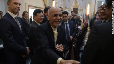 Afghan President Ashraf Ghani attends the second Kabul Process conference Wednesday at the Presidential Palace in Kabul.