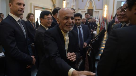 Ashraf Ghani attends the second Kabul Process conference on Wednesday.