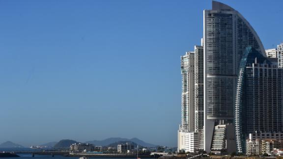 The Trump Ocean Club International Hotel (tallest) is seen in Panama City on February 28, 2018.