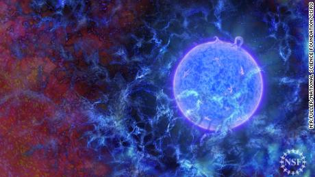 [MRJ1] Artist's rendering of how the first stars in the universe may have looked.  ©N.R.Fuller, National Science Foundation
