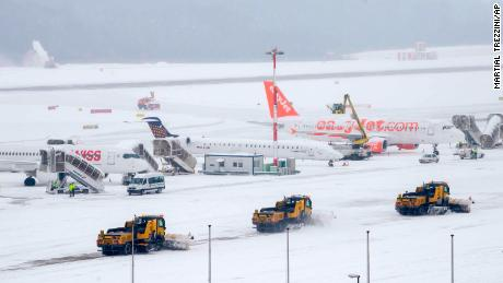 Geneva Airport in Switzerland was temporarily closed Thursday morning because of snow.