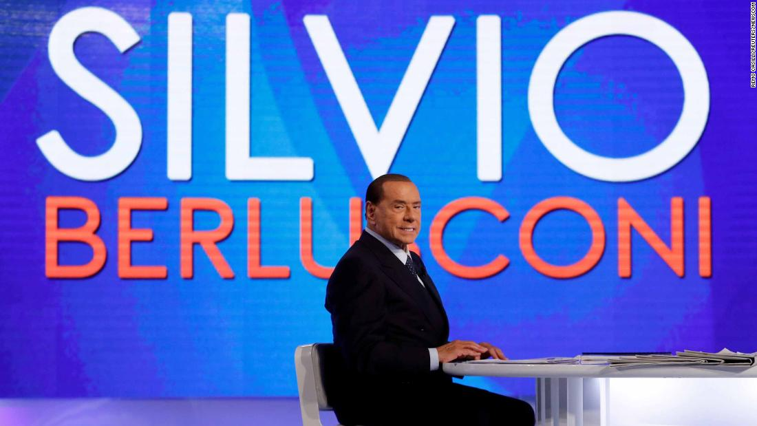 "Berlusconi appears on the television talk show ""L'aria che tira"" in Rome in January 2018."