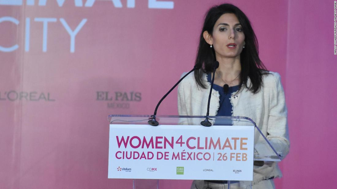 Virginia Raggi was criticized for being in Mexico during this week's storm.