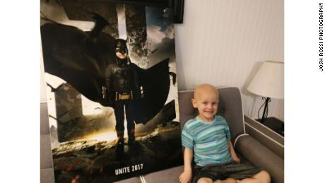 Five-year-old Simon Fuller, diagnosed with neuroblastoma, was featured as the Justice League's Batman.