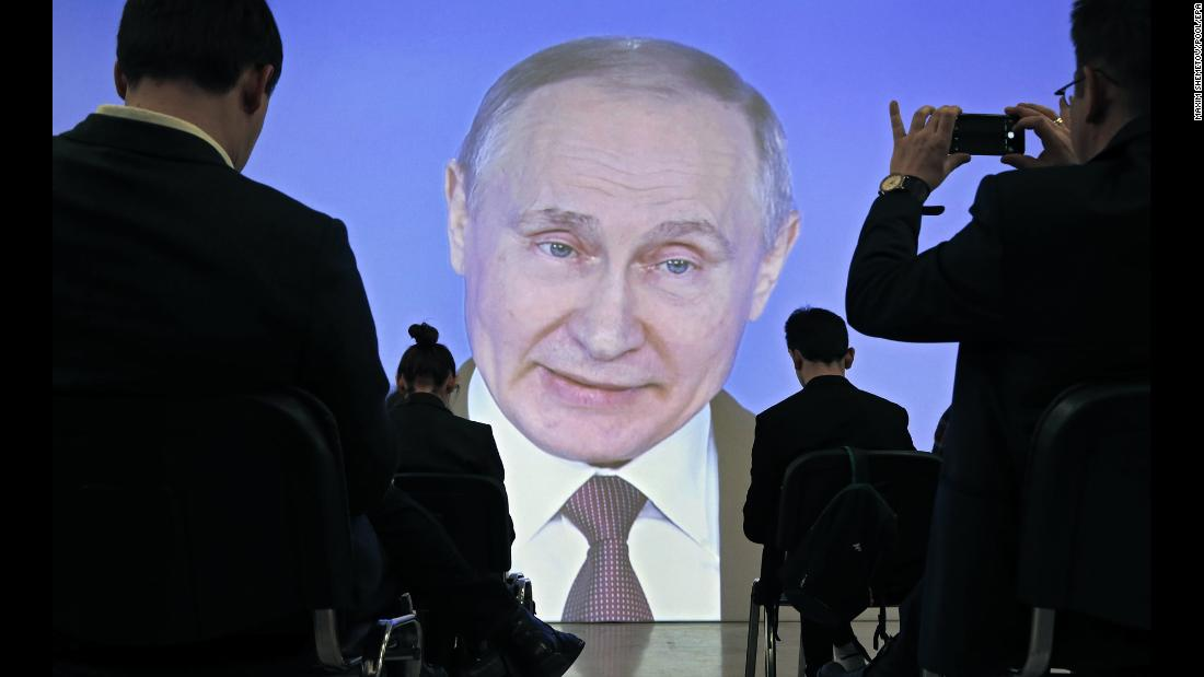 "Journalists in Moscow watch a live broadcast of Russian President Vladimir Putin giving a speech on Thursday, March 1. <a href=""https://www.cnn.com/2018/03/01/europe/putin-russia-missile-intl/index.html"" target=""_blank"">During his annual address to the Russian parliament,</a> Putin said his country has developed a nuclear-capable cruise missile that has ""unlimited"" range and is capable of eluding air-defense systems. He also said Russia has developed an ""invincible"" missile that can deliver a warhead at hypersonic speed. A US official with knowledge of the latest Russian military assessment expressed doubt to CNN that the weapons Putin described were anywhere near operational."