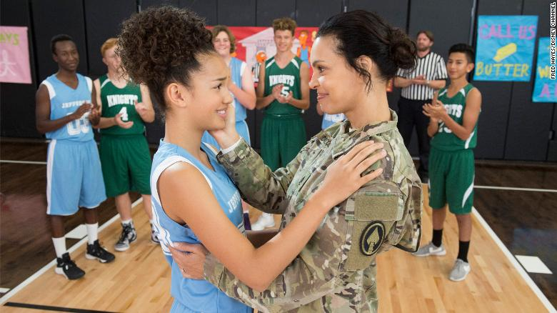 "Sofia Wylie (left) with her military mom on the show ""Andi Mack"""