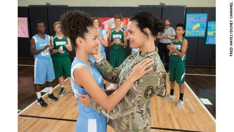 "Sofia Wylie with her military mom on the show ""Andi Mack."""