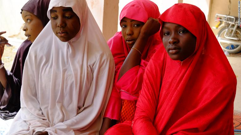 Some of the girls that escaped the Boko Haram's attack on their school.