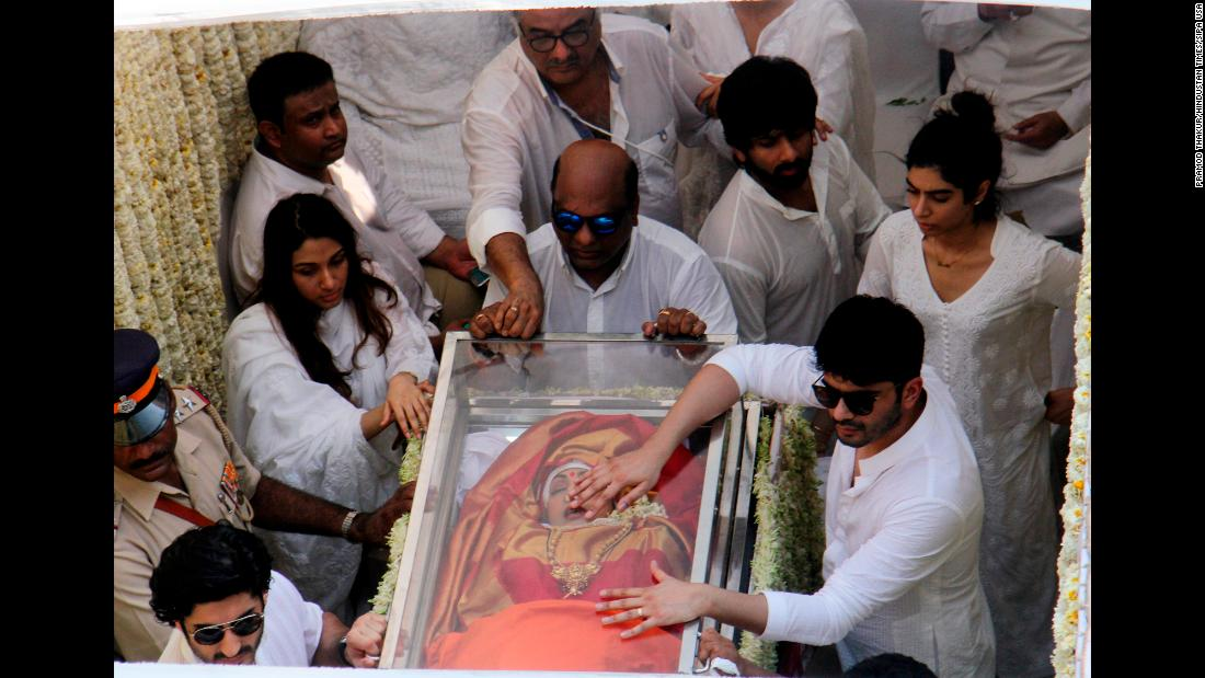 "The body of Bollywood superstar Sridevi is accompanied by her family members during her funeral in Mumbai, India, on Wednesday, February 28. The 54-year-old actress <a href=""https://www.cnn.com/2018/02/27/asia/sridevi-body-released-intl/index.html"" target=""_blank"">was found dead in a hotel bathtub</a> in Dubai, United Arab Emirates. Police in Dubai ruled out any suggestion of foul play, and a forensics report said she died from ""accidental drowning following loss of consciousness."""