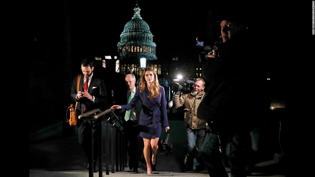 "White House Communications Director Hope Hicks leaves the US Capitol on Tuesday, February 27, <a href=""https://www.cnn.com/2018/02/26/politics/hope-hicks-house-intelligence-committee/index.html"" target=""_blank"">after testifying before the House Intelligence Committee</a> as part of its Russia investigation. Hicks, one of President Donald Trump's longest-serving aides, <a href=""https://www.cnn.com/2018/02/28/politics/hope-hicks-white-house/index.html"" target=""_blank"">is resigning from her position,</a> the White House confirmed on Wednesday. She's expected to leave in the next few weeks."
