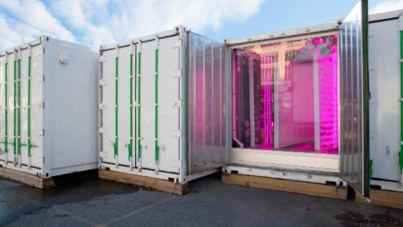 Square Roots, US -- Based in Brooklyn, New York City, Square Roots grows food in shipping containers placed in a parking lot.