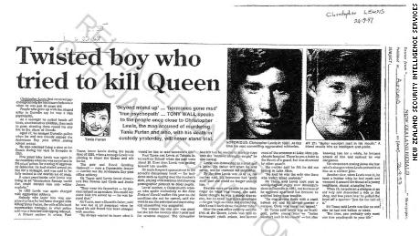 New Zealand press reports, included in a secret file kept by the country's intelligence services on would-be royal assassin Christopher Lewis.