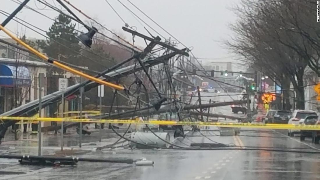 Telephone poles were downed in Watertown, Massachusetts, on March 2.
