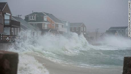 Coastal areas in New England are bracing for the high tide that is scheduled to be at it's highest as seen in Scituate, Massachusetts before receding to lower tide until night fall on March 2, 2018. 