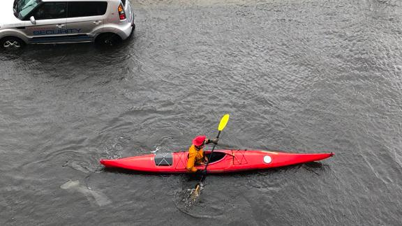 Matthew Nguyen shot this photo of flooding on Friday from his third floor apartment in East Boston. He shot this at 11 a.m. He saw a kayaker paddle down his flooded street. Nguyen says the flooding seems to be worse than it was during January's storms.