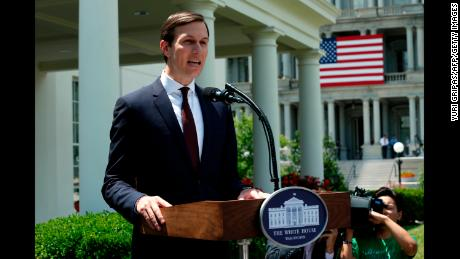 Senior Advisor to the President Jared Kushner makes a statement from at the White House after being interviewed by the Senate Intelligence Committee in Washington on July 24, 2017. / AFP PHOTO / YURI GRIPAS        (Photo credit should read YURI GRIPAS/AFP/Getty Images)