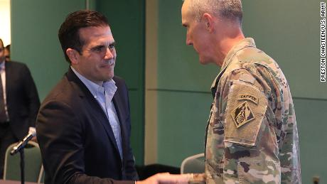 Task Force Power Restoration Commander, Col Jason Kirk (right), and Puerto Rico Governor Ricardo Rosselló on Wednesday.