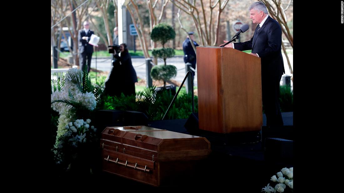 "Franklin Graham delivers a sermon at the<a href=""https://www.cnn.com/2018/03/02/us/billy-graham-funeral/index.html"" target=""_blank""> funeral service</a> for his father on Friday, March 2. Billy Graham, the Protestant preacher known as ""America's pastor,"" died last week at the age of 99."