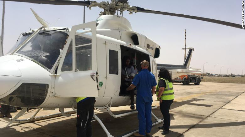 United Nations air service personnel evacuate injured aid workers from Rann, northeastern Nigeria, where they were attacked by militants.
